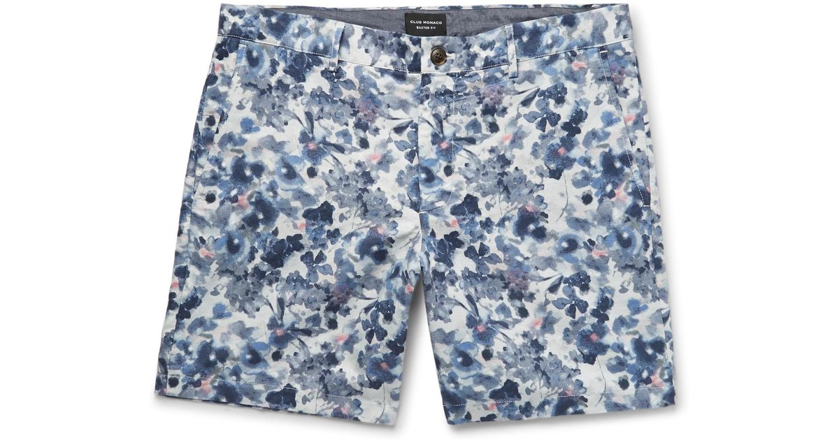 Baxter Slim-fit Floral-print Linen And Cotton-blend Twill Shorts Club Monaco gINq9s