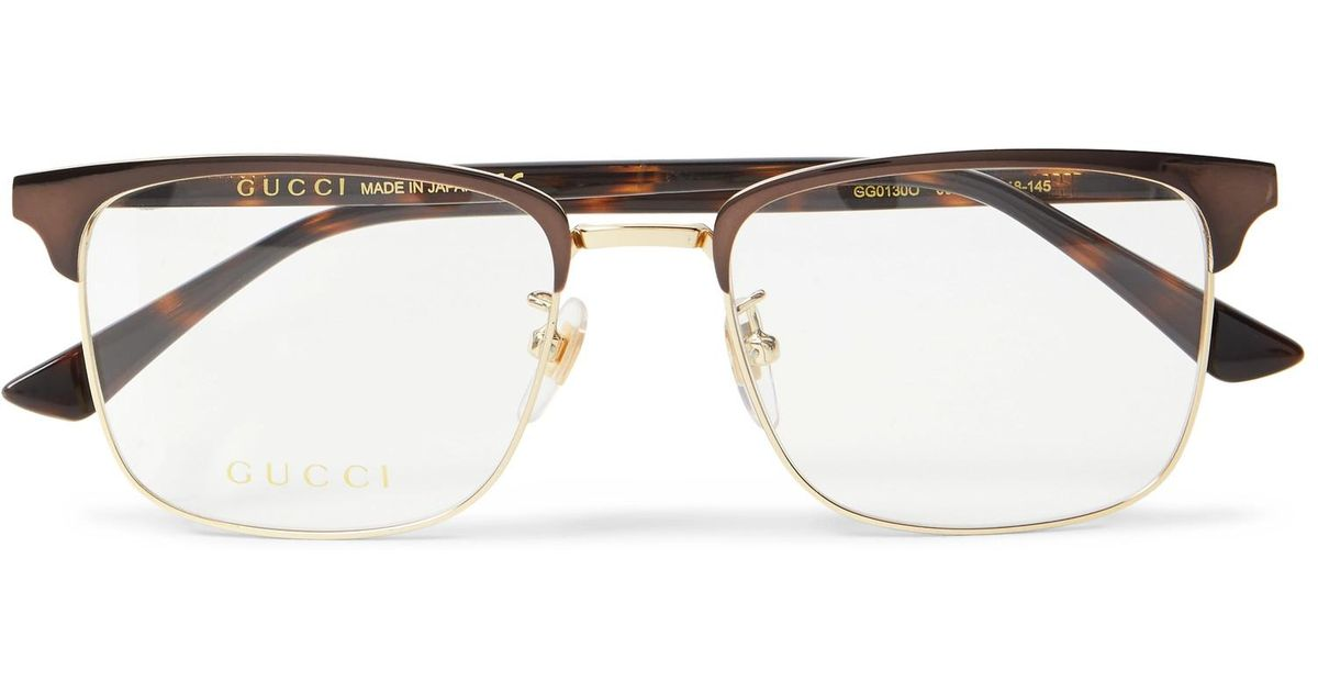 0504b1aa69 Gucci Square-frame Tortoiseshell Acetate And Gold-tone Optical Glasses in  Brown for Men - Lyst