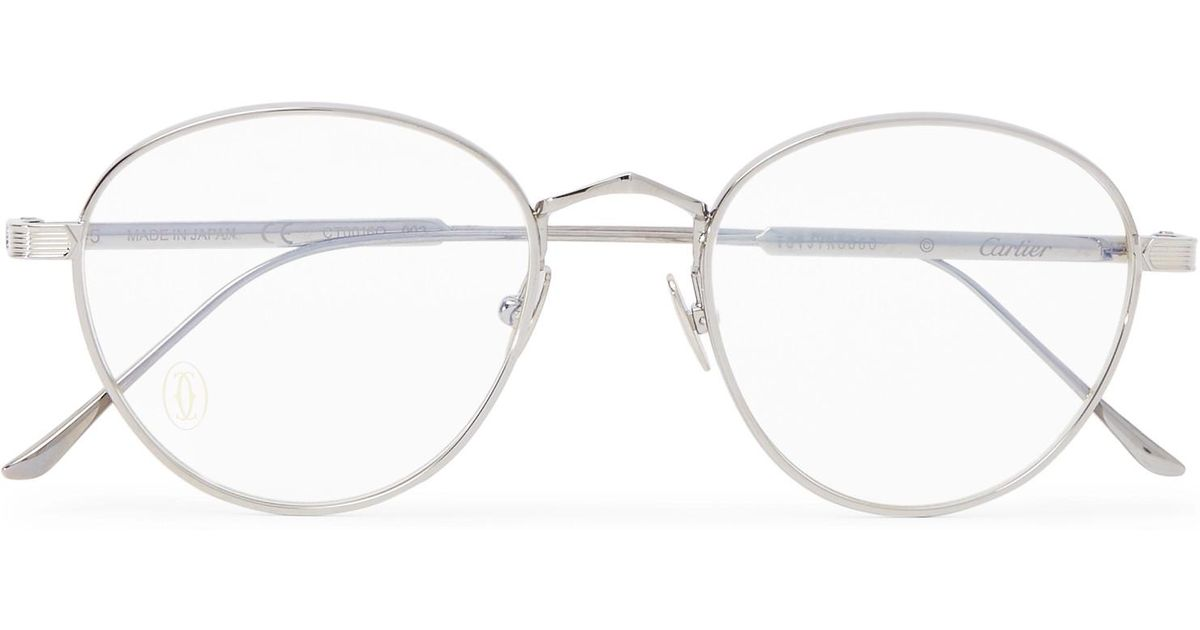 d866071dac9d2 Cartier Signature C De Cartier Round-frame Silver-tone And Ruthenium Optical  Glasses in Metallic for Men - Lyst