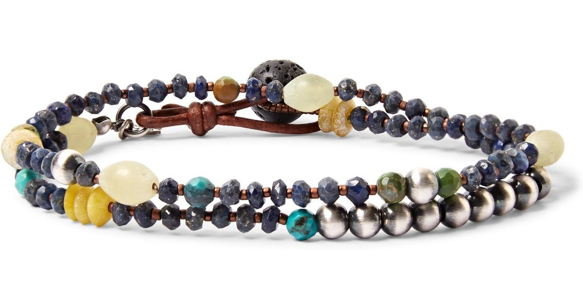 Lyst Peyote Bird Sterling Silver Lapis And Turquoise Wrap Bracelet In Blue For Men