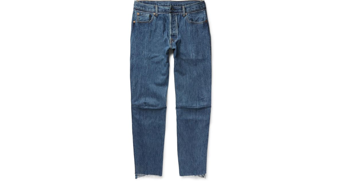 41d41b58 Vetements Levi's Slim-fit Tapered Patchwork Denim Jeans in Blue for Men -  Lyst