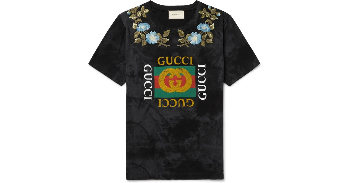 49b70ea9 Gucci - Black Slim-fit Embroidered Printed Cotton-jersey T-shirt for Men -  Lyst