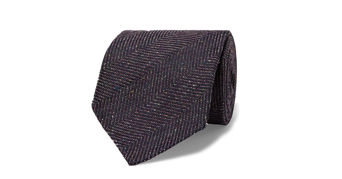 8cm Herringbone Linen And Mulberry Silk-blend Tie Dunhill