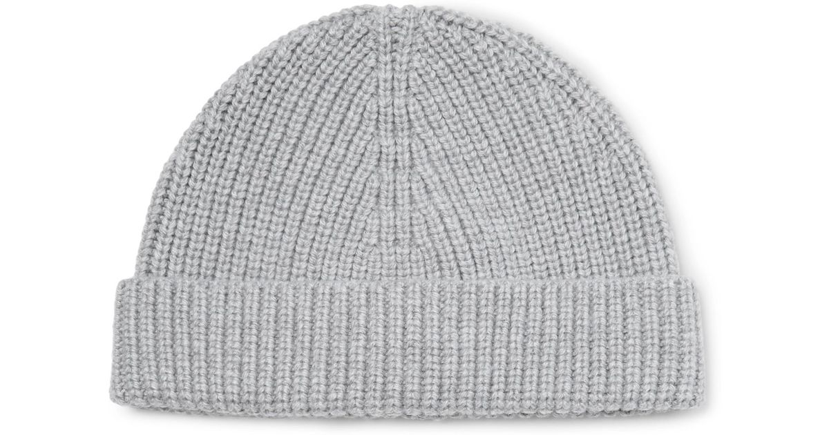 98c3f3bd9c4 Lanvin Ribbed Cashmere Beanie in Gray for Men - Lyst