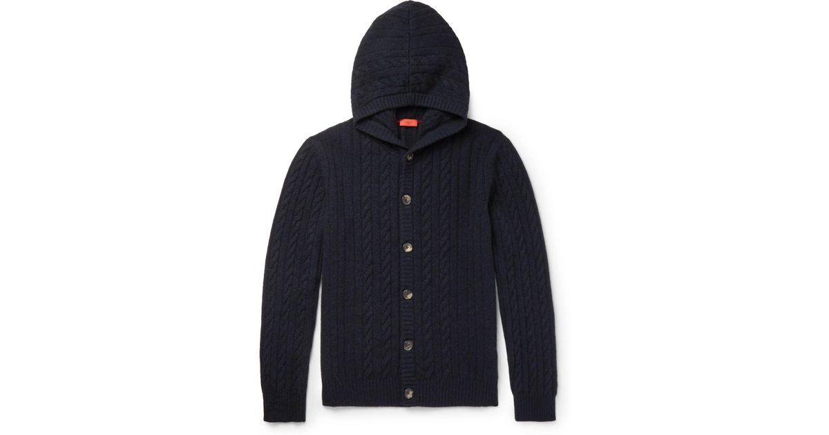 Isaia Cable-knit Cashmere Hooded Cardigan in Blue for Men | Lyst