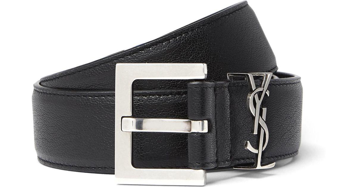 7c3285fc828 Saint Laurent 3cm Black Full-grain Leather Belt in Black for Men - Lyst
