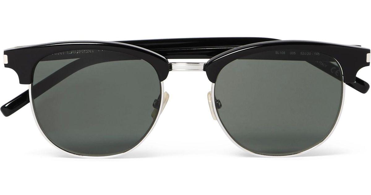 a7c57d7e9c Lyst - Saint Laurent D-frame Acetate And Silver-tone Sunglasses in Black  for Men