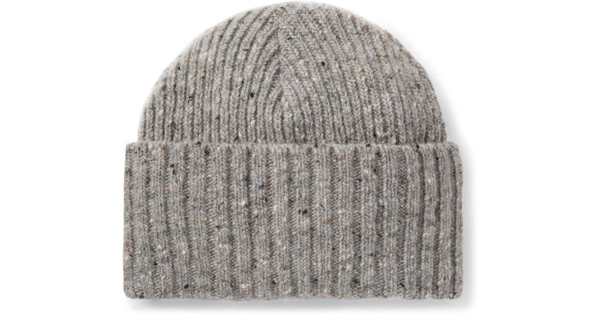 Drake s Ribbed Donegal Merino Wool Beanie in Gray for Men - Lyst 1d94cc89b69
