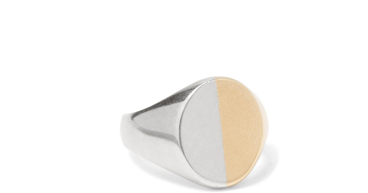 Maison Martin Margiela Sterling Silver And Gold-tone Signet Ring - Silver VL0xEs
