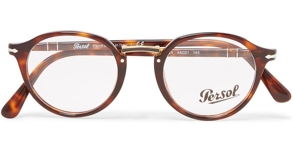 3321b5e041 Persol Round-frame Tortoiseshell Acetate And Gold-tone Optical Glasses in  Brown for Men - Lyst