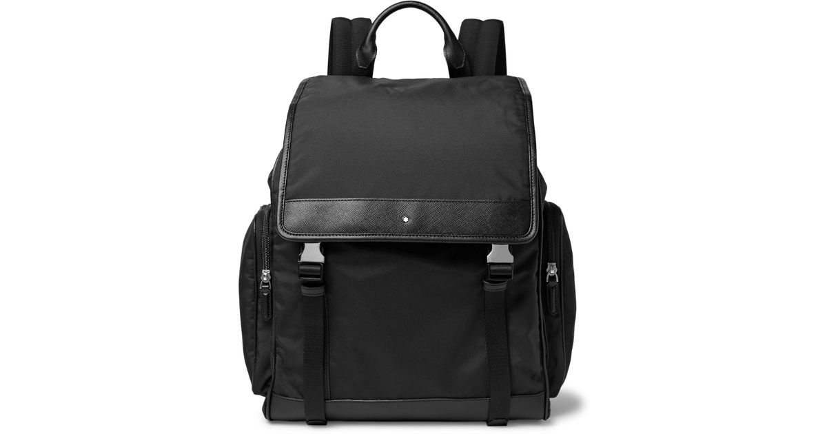 310140f5d Montblanc Sartorial Jet Cross-grain Leather-trimmed Nylon Backpack in Black  for Men - Lyst