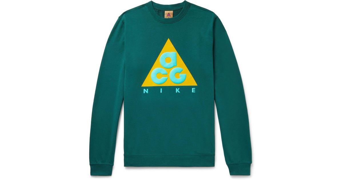 9302d5a35 Nike Acg Nsw Logo-print Loopback Cotton-jersey Sweatshirt in Green for Men  - Lyst