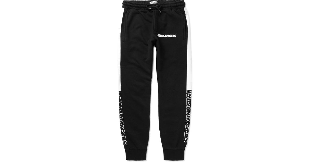 75a1fb886985 Lyst - Palm Angels Slim-fit Tapered Logo-print Striped Cotton-jersey Sweatpants  in Black for Men