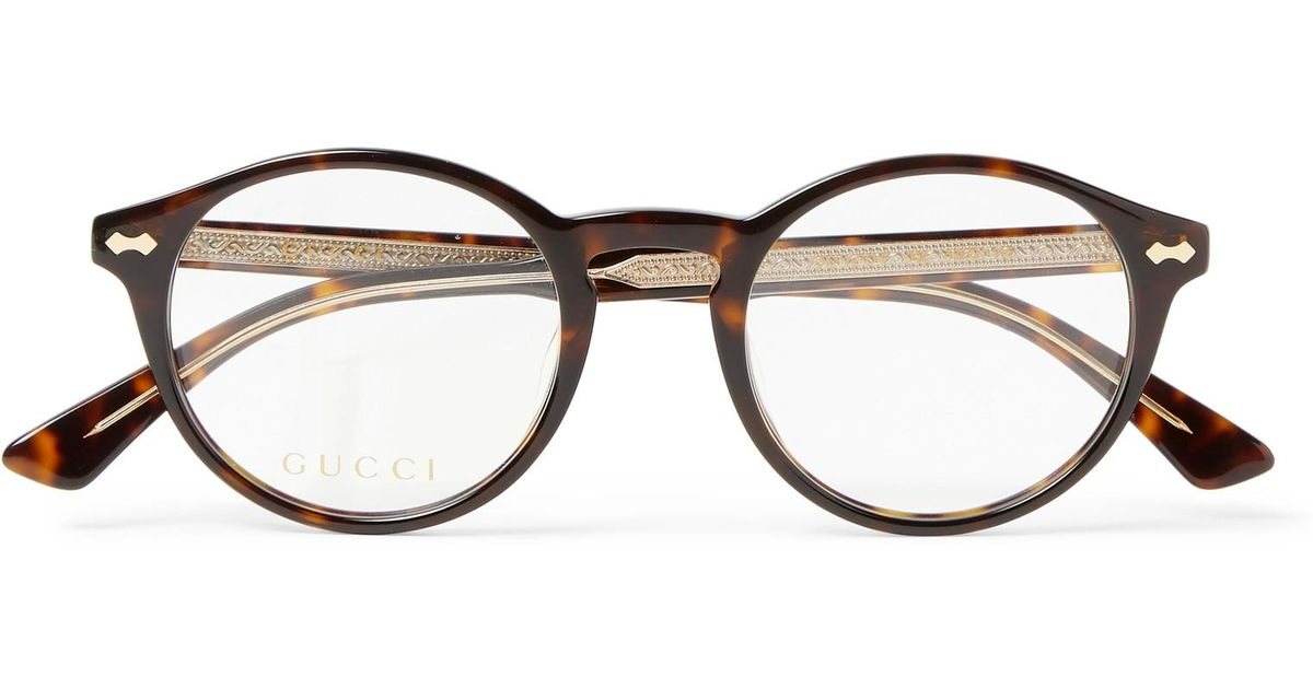 ed68a332f0 Lyst - Gucci Round-frame Tortoiseshell Acetate Optical Glasses in Brown for  Men