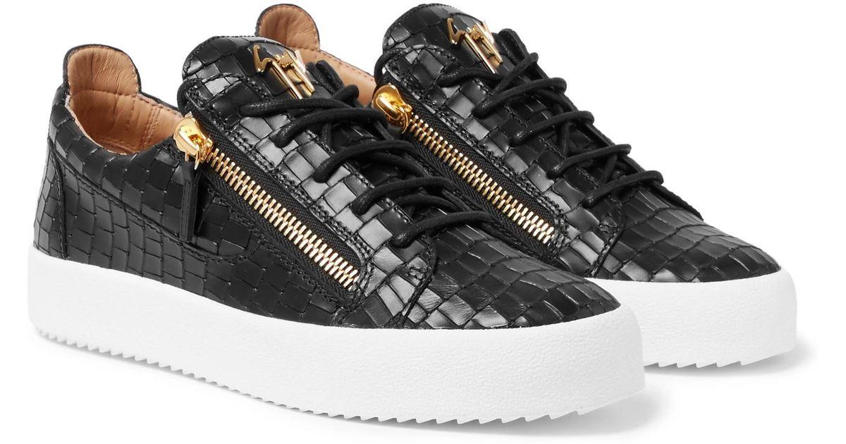 f76871437b073 Lyst - Giuseppe Zanotti Logoball Croc-effect Leather Sneakers in Black for  Men