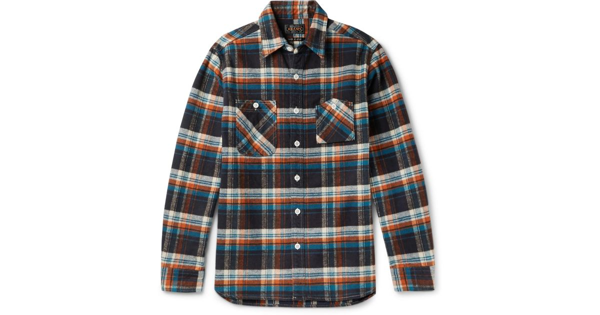 Beams Plus - Multicolor Slim-fit Checked Cotton-flannel Shirt for Men - Lyst