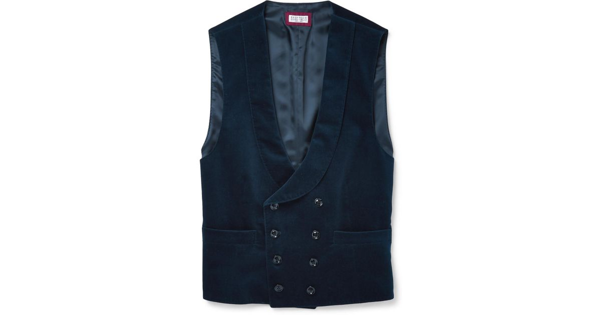 Slim-fit Shawl-collar Double-breasted Cotton-velvet Waistcoat Brunello Cucinelli Clearance With Paypal Outlet Huge Surprise Buy Cheap Deals Free Shipping Buy Cheap Sast BHZWCxN