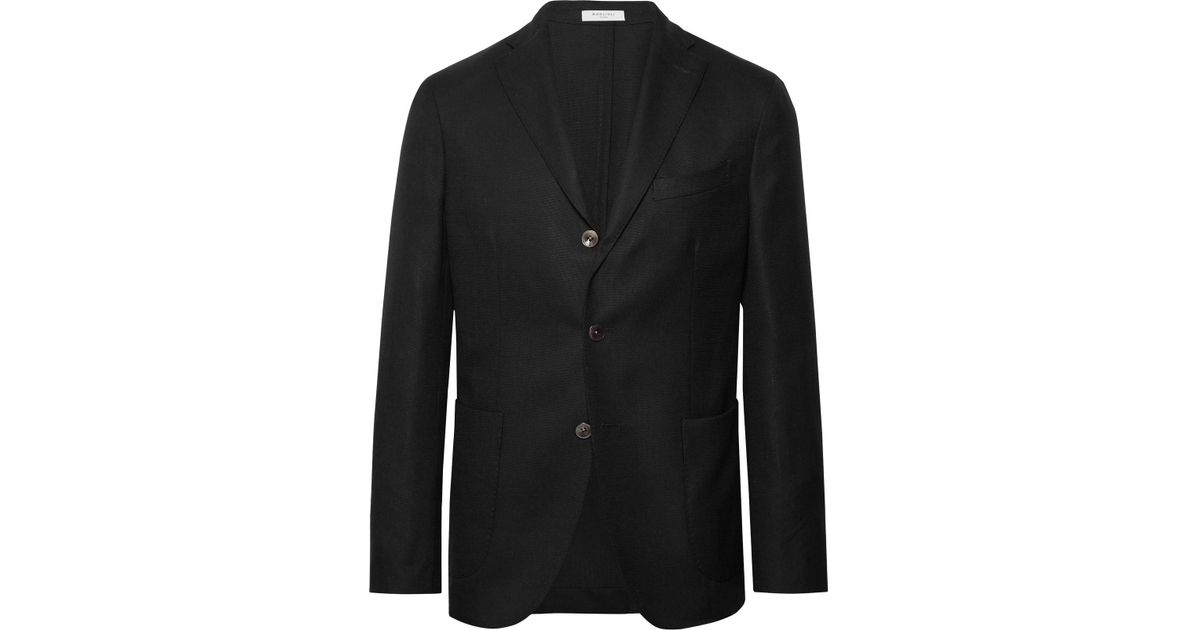 9cbf68a393f7 Boglioli Black K-jacket Slim-fit Unstructured Wool-hopsack Blazer in Black  for Men - Lyst