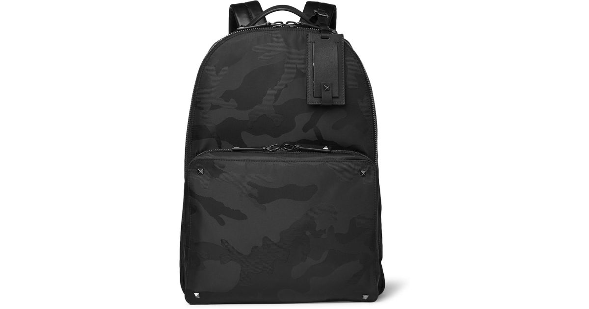 2e0ee67ab2 Lyst - Valentino Garavani Leather-trimmed Camouflage-jacquard Shell Backpack  in Black for Men