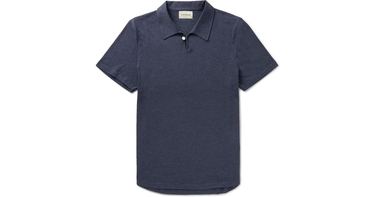 Hawthorn Mélange Cotton-jersey Polo Shirt Oliver Spencer Amazing Price Online Very Cheap Deals Buy Cheap Official Site Purchase Sale Online FK6ghRsi