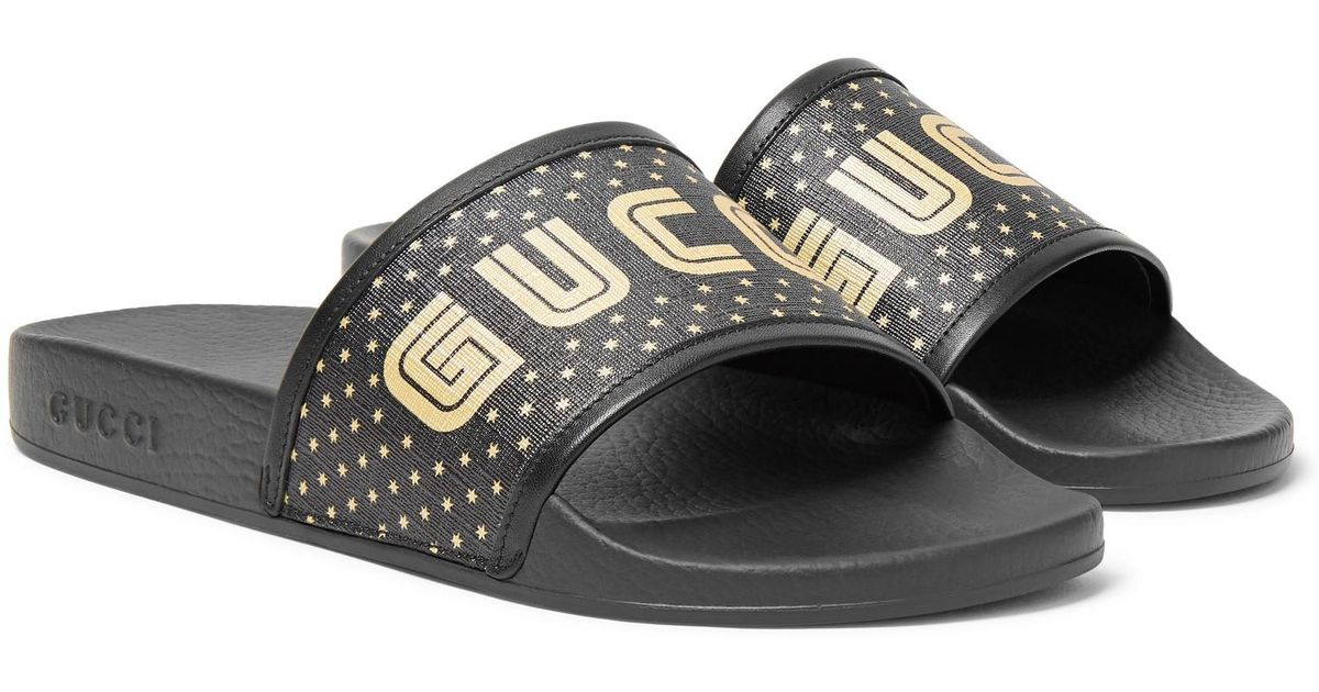 Lyst - Gucci Leather-trimmed Logo-print Rubber Slides in ...