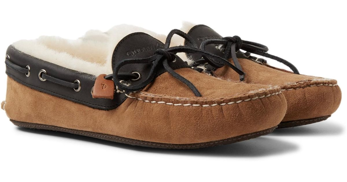Fireside Leather-trimmed Shearling-lined Suede Slippers Quoddy For Sale Finishline blKuPYbF