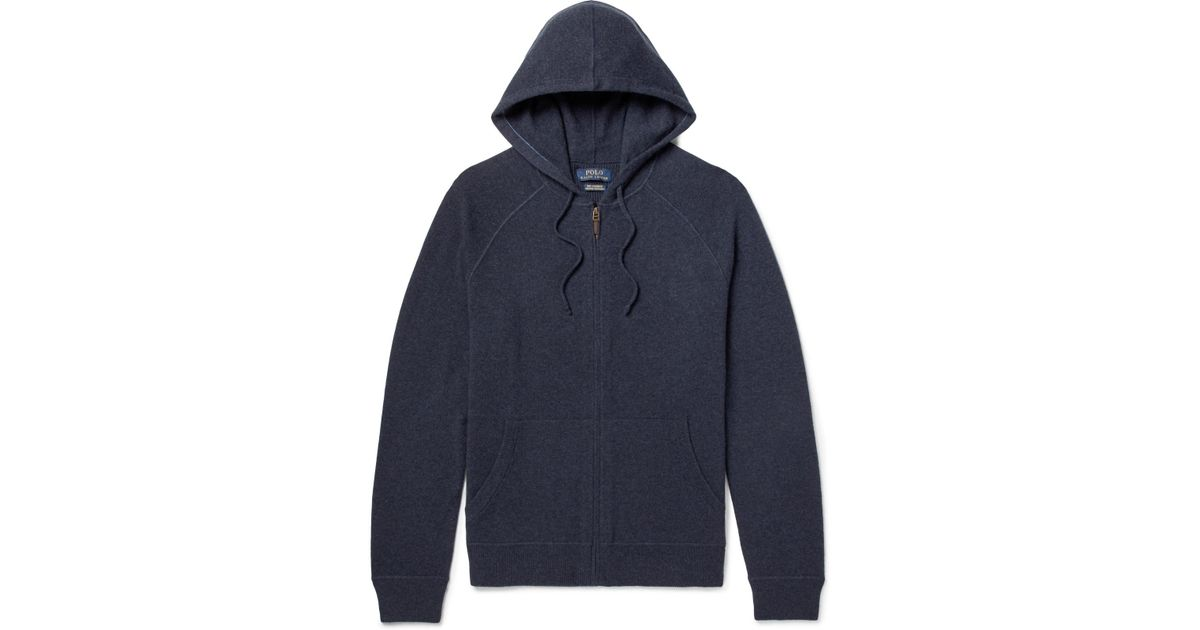 7a84c6f08 ... discount code for lyst polo ralph lauren mélange cashmere zip up hoodie  in blue for men