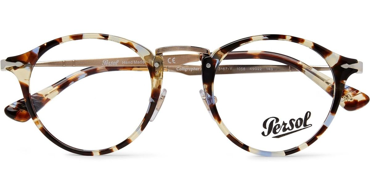 6230e43f89 Persol Round-frame Tortoiseshell Acetate And Gold-tone Optical Glasses in  Brown for Men - Lyst