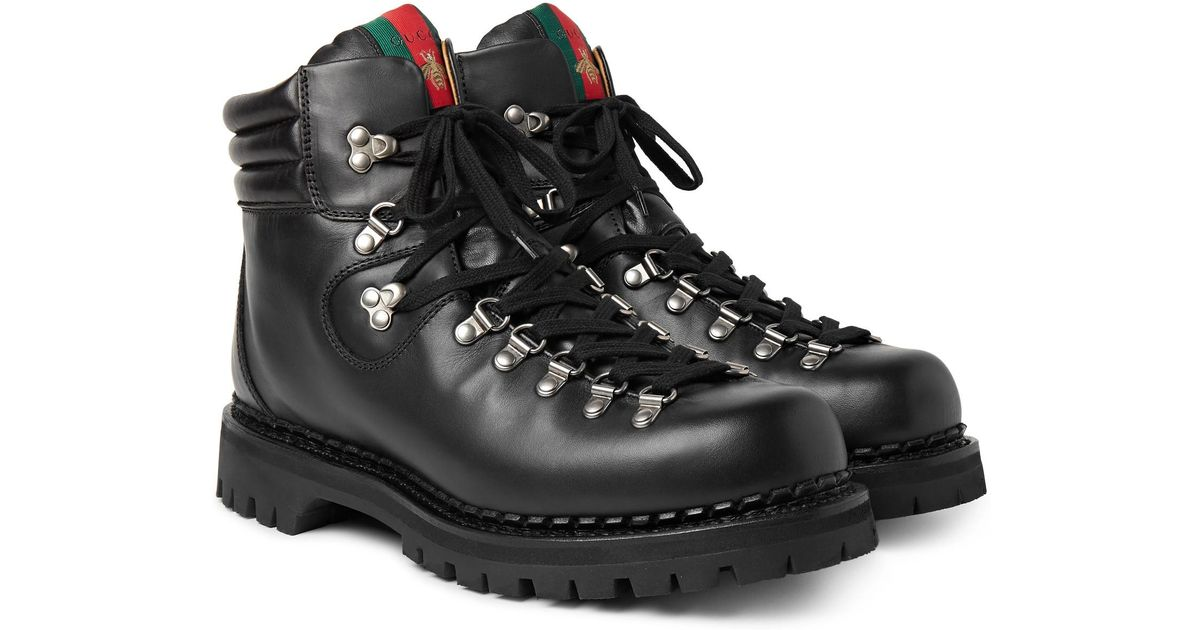 64390a59fda0 Lyst - Gucci Tracker Leather Boots in Black for Men