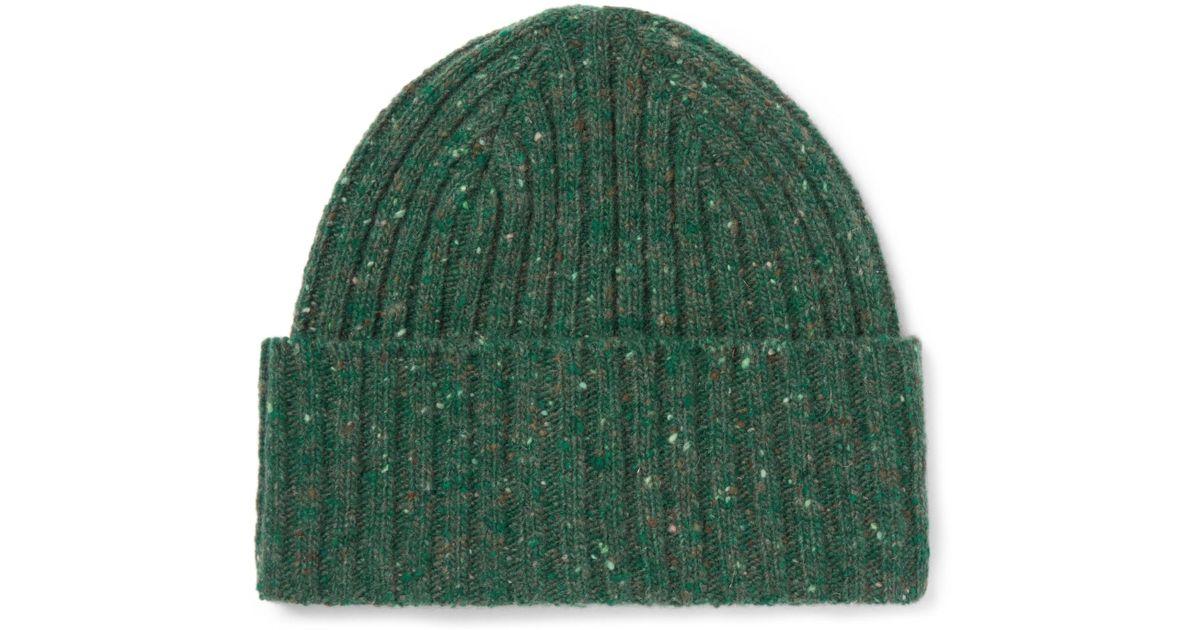 9e2dc8da0ee Lyst - Drake s Ribbed Donegal Merino Wool Beanie in Green for Men