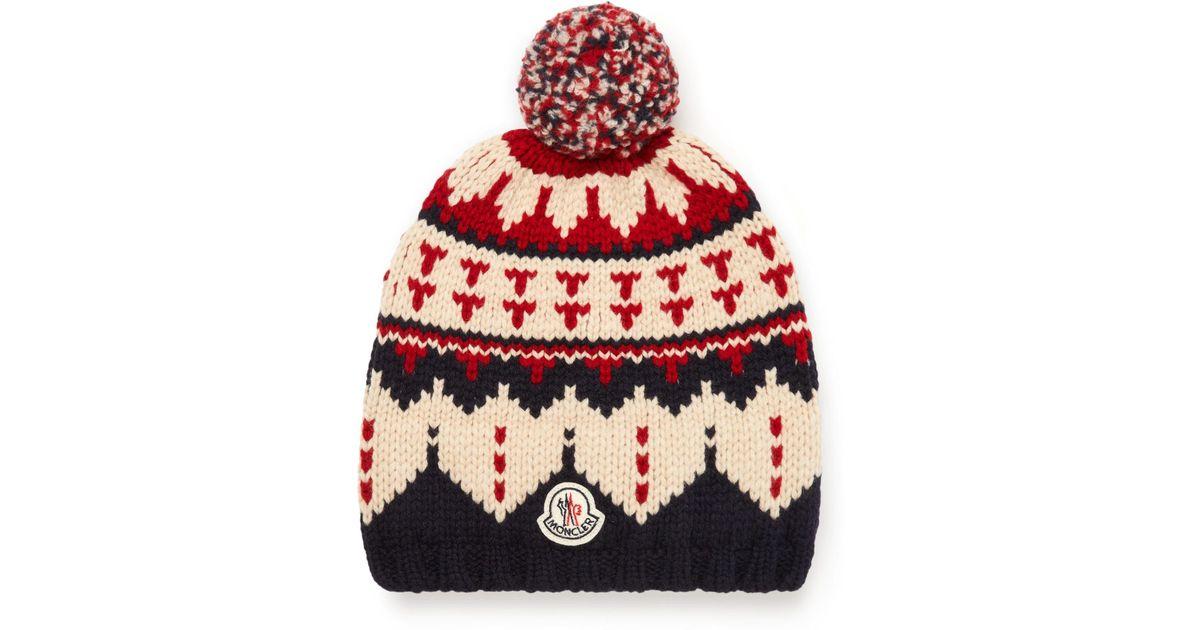 Moncler Fair Isle Virgin Wool Bobble Hat in Blue for Men | Lyst