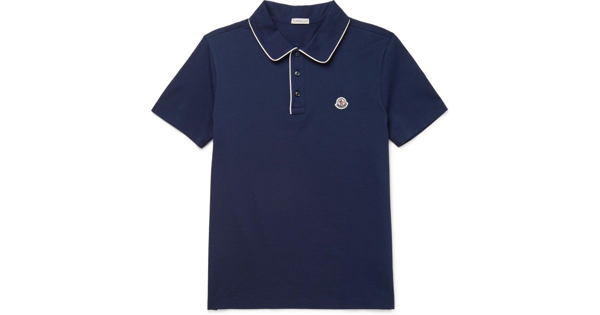f93c0826da35 Lyst - Moncler Contrast-tipped Cotton-piqué Polo Shirt in Blue for Men