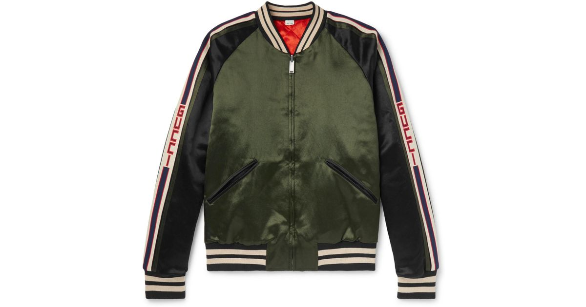 07163ab2a08 Lyst - Gucci Reversible Webbing-trimmed Satin-twill Bomber Jacket in Green  for Men