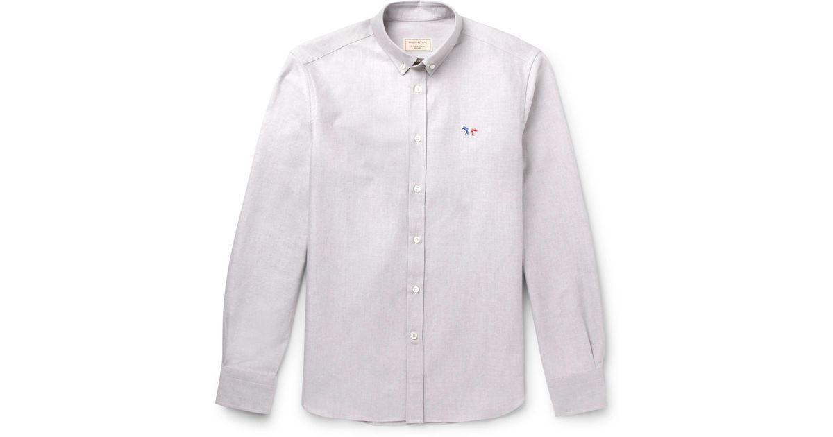 d528092a42c maison-kitsune-gray-Slim-fit-Button-down-Collar-Cotton-Oxford-Shirt.jpeg