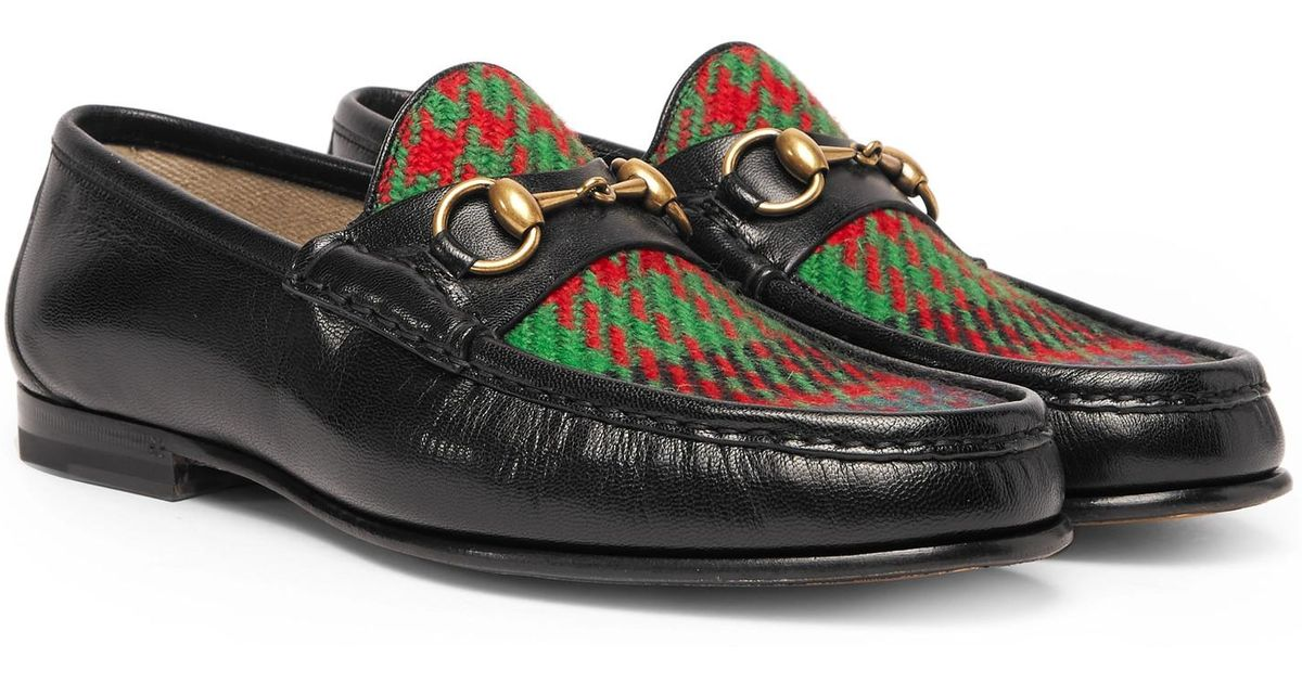 Roos Horsebit Embroidered Leather And Checked Tweed Loafers Gucci BqyT4PQ