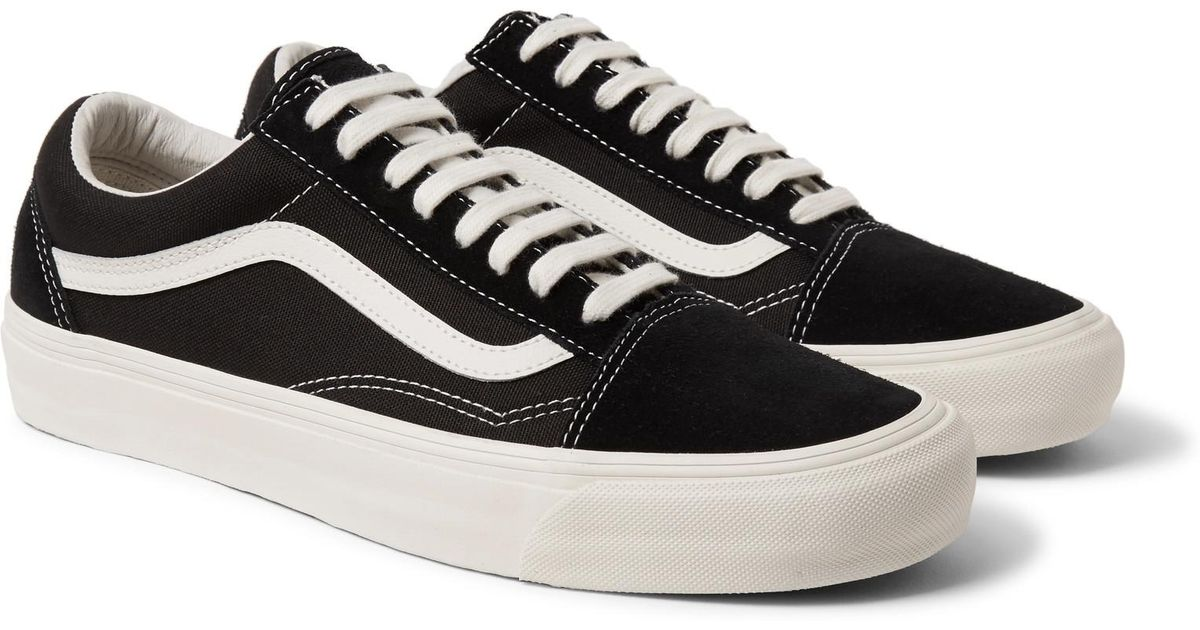 243cf8379a Lyst - Vans Og Old Skool Lx Leather-trimmed Canvas And Suede Sneakers in  Black for Men - Save 7%