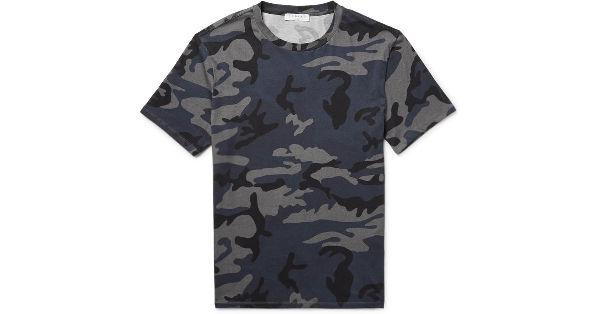 e15fa3aa8196 Lyst - Sandro Slim-fit Camouflage-print Cotton-jersey T-shirt in Blue for  Men