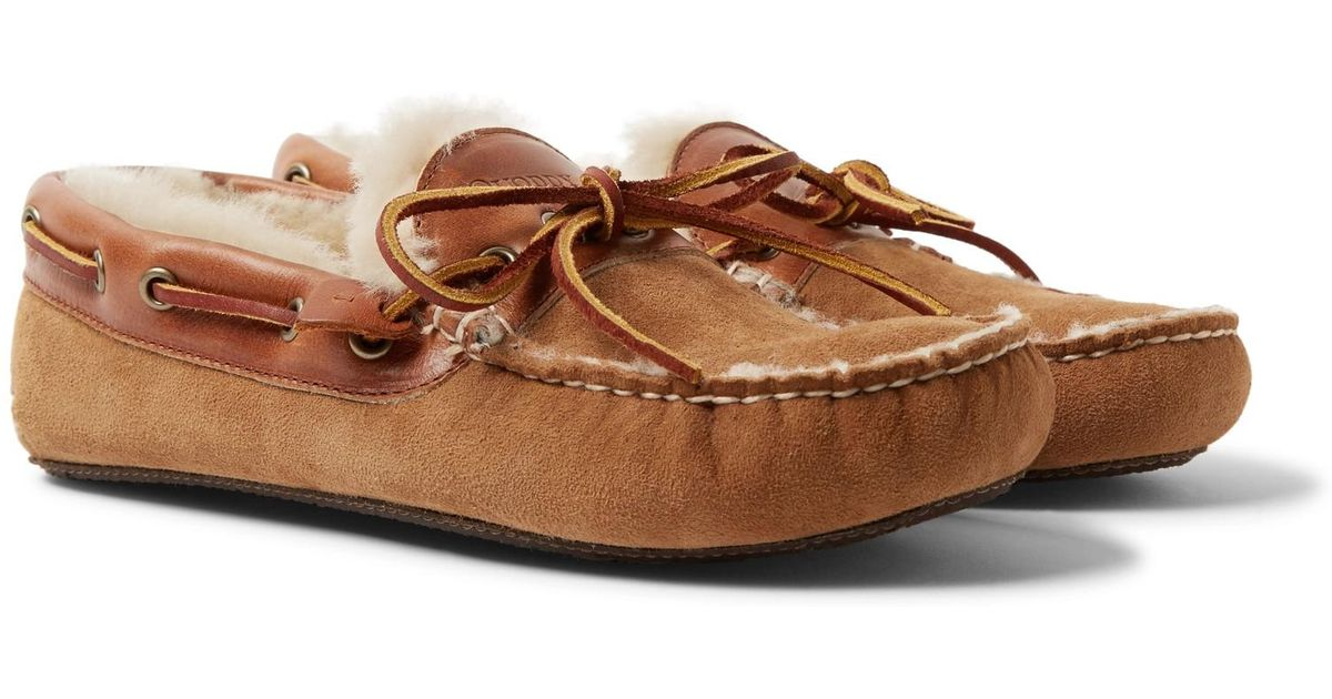 70fda990b39 Lyst - Quoddy Fireside Leather-trimmed Shearling-lined Suede Slippers in  Brown for Men
