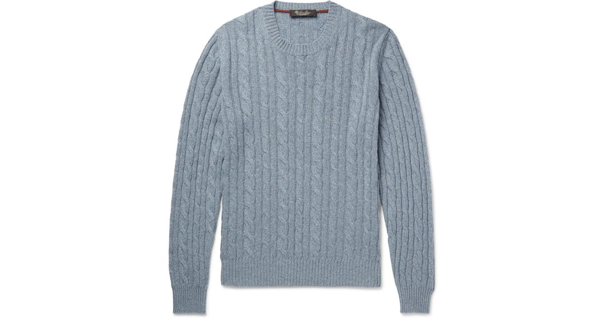 240b3c5d0 Lyst - Loro Piana Slim-fit Cable-knit Mélange Baby Cashmere Sweater ...