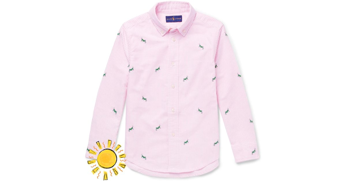 efb063b38 Polo Ralph Lauren Boys Ages 2 - 6 Embroidered Striped Cotton Oxford Shirt  in Pink for Men - Lyst
