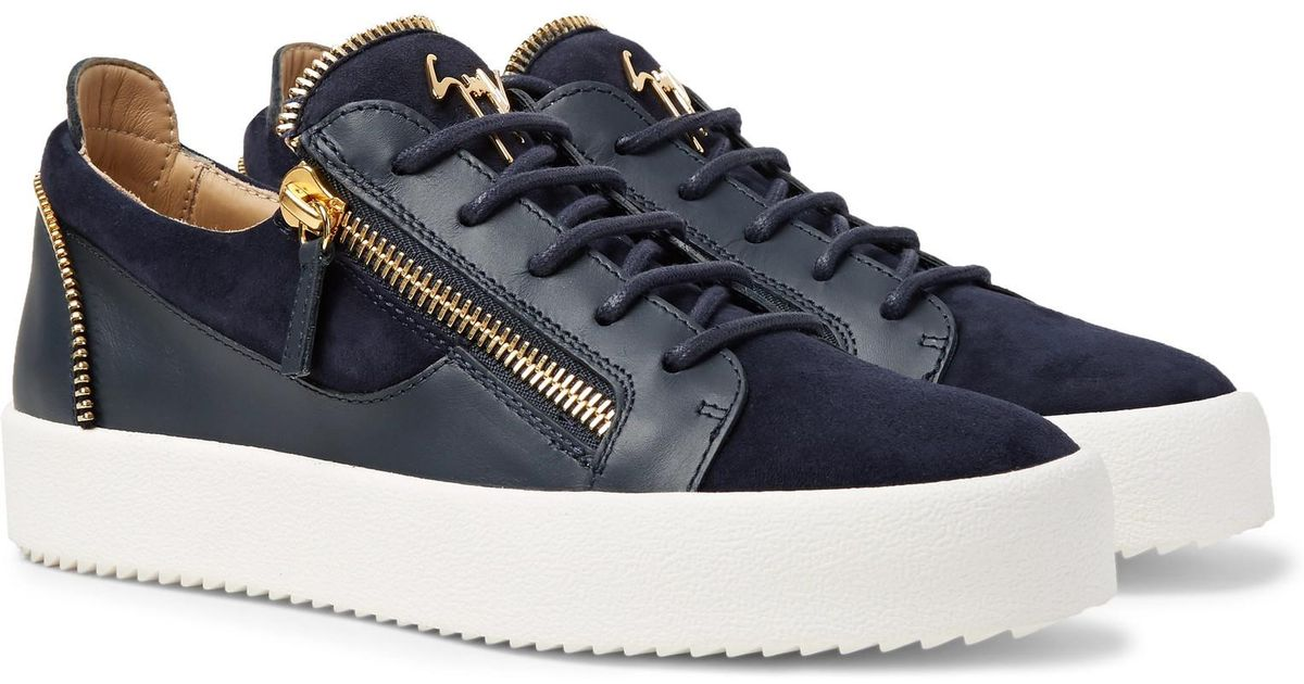 a92e17b6670 Giuseppe Zanotti Logoball Leather And Suede Sneakers in Blue for Men - Lyst