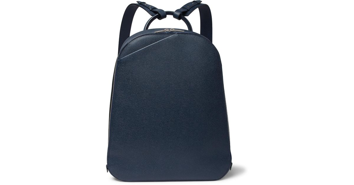 6900b91bd8 Lyst - Valextra My Logo Pebble-grain Leather Backpack in Blue for Men