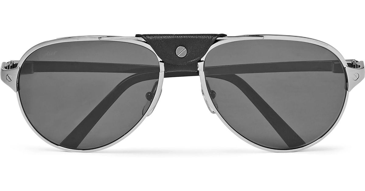 267d019b54 Cartier Santos De Cartier Aviator-style Leather-trimmed Silver-tone  Sunglasses in Metallic for Men - Lyst