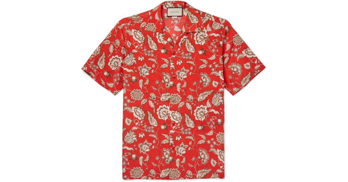 11d41d21af22 Gucci Camp-collar Floral-print Silk Shirt in Red for Men - Lyst
