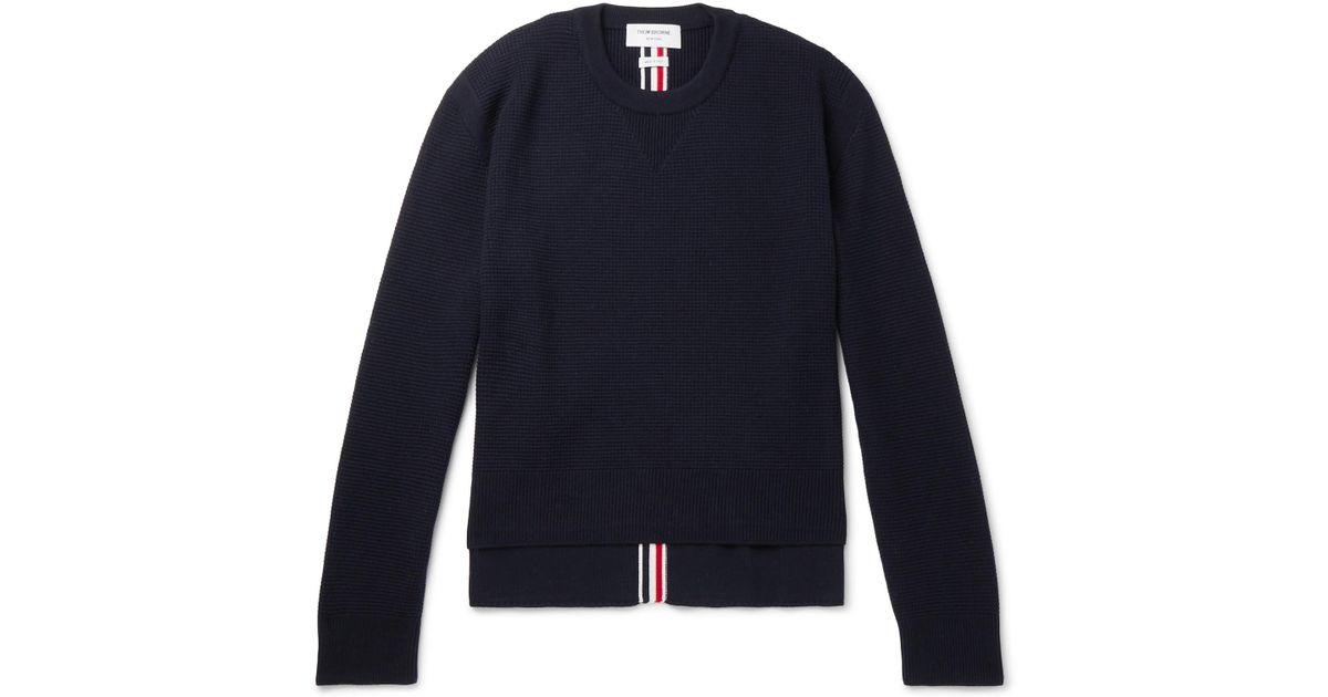 Thom For Sweater Wool In Blue Browne Men Striped Merino Knit Lyst Waffle RCnRzrqw
