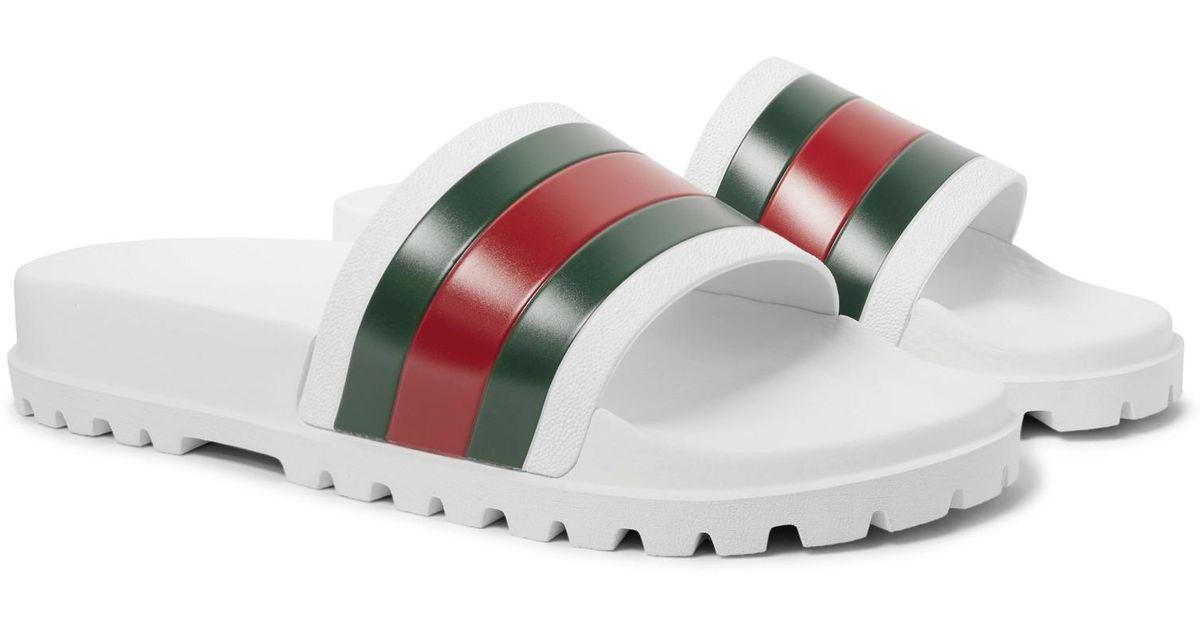 dd2d6434d903 Lyst - Gucci Web Slide Sandal in White for Men - Save 22%
