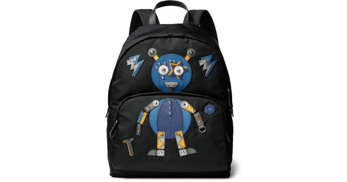 96e0f337911f Lyst - Prada Robot Saffiano Leather-trimmed Nylon Backpack in Black for Men