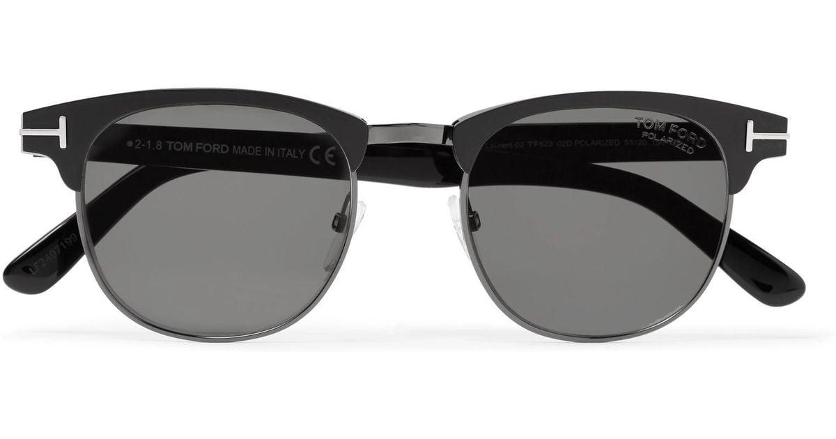 fdadfdff355 Lyst - Tom Ford Laurent D-frame Acetate And Gunmetal-tone Polarised  Sunglasses in Black for Men