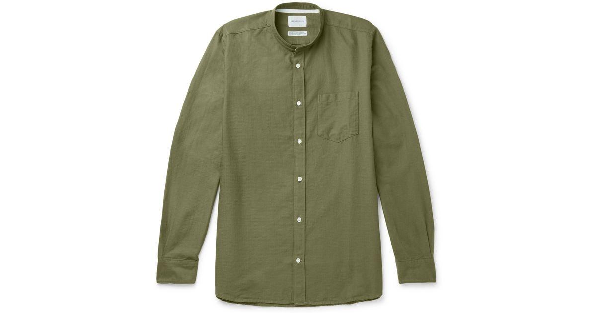 Norse projects Hans Grandad-collar Cotton-ripstop Shirt - Green xpeNsR