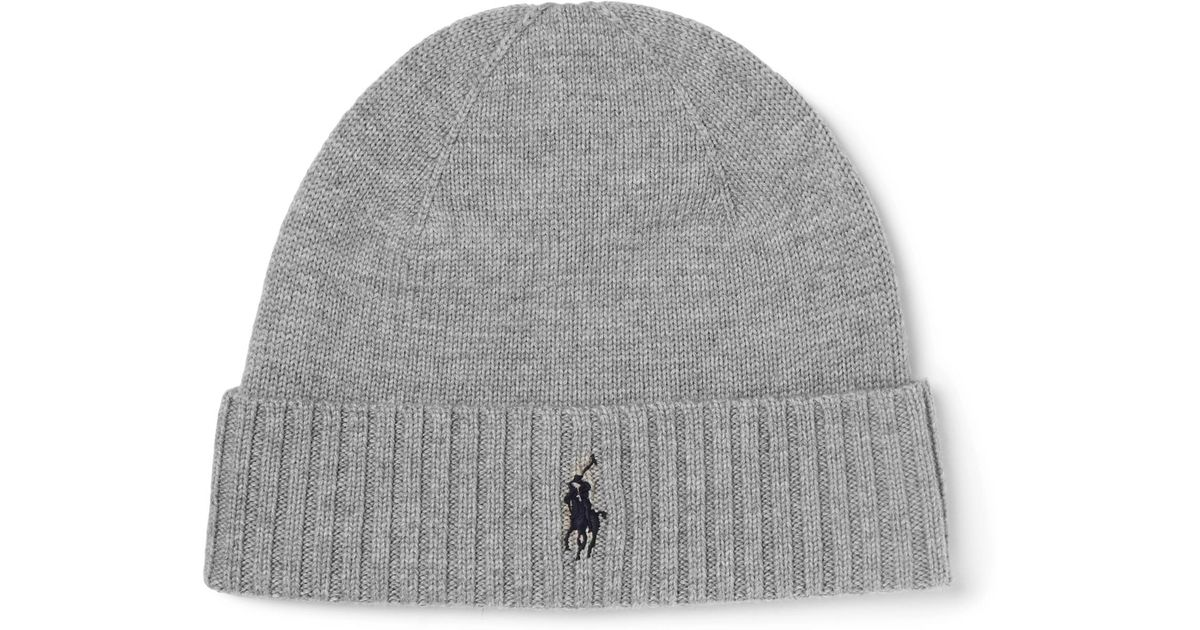 c97212941cc Lyst - Polo Ralph Lauren Ribbed Merino Wool Beanie in Gray for Men